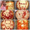 Портреты знаменитостей на пицце, сделанные сыром!