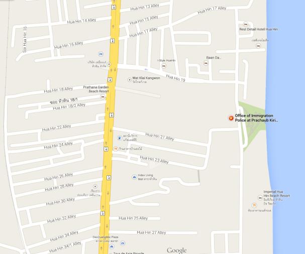 Карта местонахождения иммигрэйшн офиса в Хуахине
