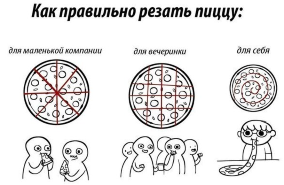 разрезаем пиццу